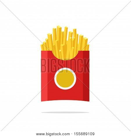 French fries in paper package box vector illustration isolated on white background, flat cartoon style fast food icon, fried potato, french-fried potatoes