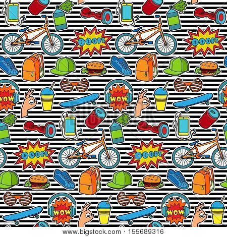 Fashion Patch Seamless Pattern with teenager and sport objects on striped background. Pin badges set. Stickers collection. Wallpaper from colorful appliques for denim or clothes.