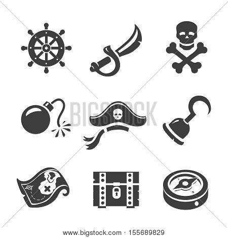Pirate Icons Skull and chest, treasure map, compass and Jolly Roge. Corsair simbols set