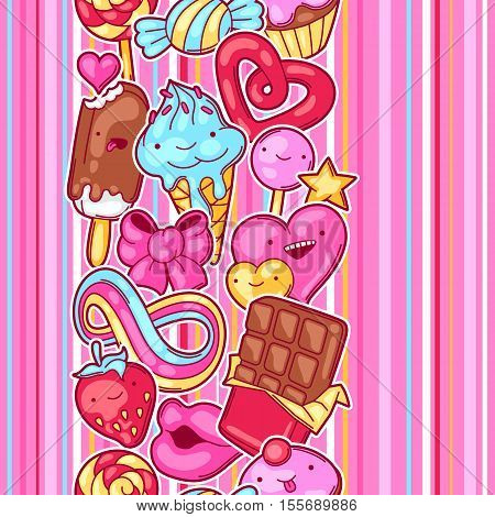 Seamless kawaii pattern with sweets and candies. Crazy sweet-stuff in cartoon style. poster
