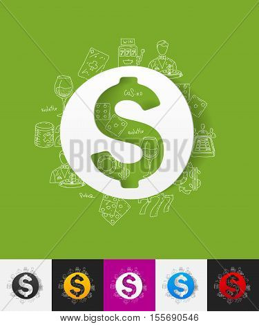 hand drawn simple elements with money paper sticker shadow