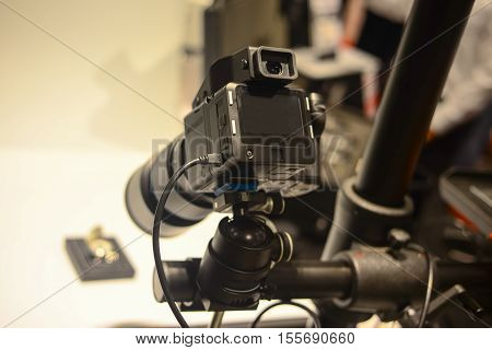 Middle format camera photographing object in studio