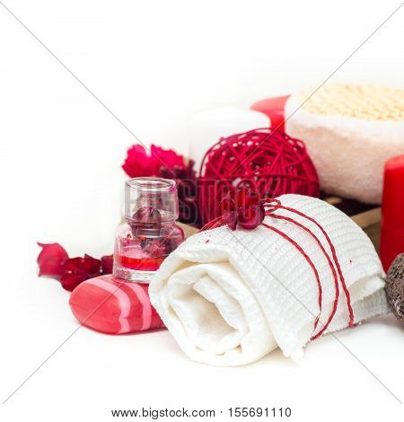 Spa Composition With Spa Accessories And Towels On White Background.