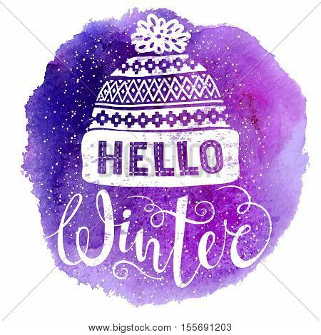 Hello winter text and knitted woolen cap on watercolor background. Seasonal shopping concept design for banner or label. Isolated vector illustration.