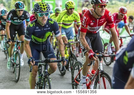 Bouille-MenardFrance - July 4 2016: The Spanish cyclist Alejandro Valverde of Movistar Team rides in the pack during the stage 3 of Tour de France in Bouille-Menard on July 4 2016.