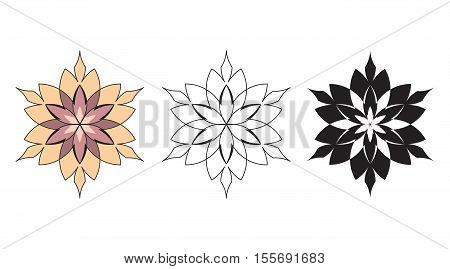 Tribal flowers artwork collection - tattoo vector