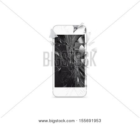 Broken mobile cell phone screen, scattered shards, isolated. Smartphone monitor damage mock up. Cellphone crash and scratch. Telephone display glass hit. Device destroy problem. Smash gadget, repair.