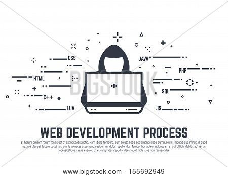 Web development process. Computer programing languages and hacker with laptop. Notebook and abstract lines.