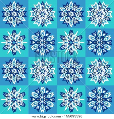 Ethnic Christmas seamless pattern on chessboard background. Boho textile print. New Year wallpaper. Winter red wrapping with snowflakes.