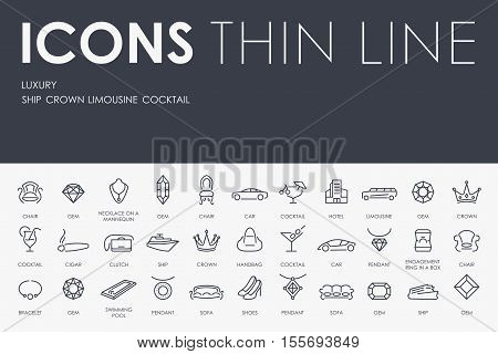 Thin Stroke Line Icons of Luxury on White Background