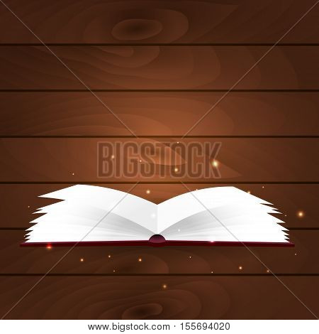 Book Poster. Open Book With Mystic Bright Light On Wooden Background. Vector Illustration.