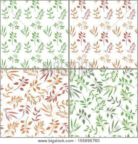 Seamless plant background set. Endless pattern with orange and green twigs and leaves silhouette. Vector illustration on white background
