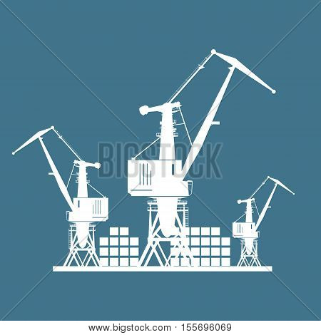 Cargo Cranes and Containers at the Port Isolated on Blue , Containers and Cranes at the Dock, International Freight Transportation ,Vector Illustration