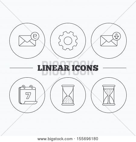 Hourglass, inbox mail and e-mail icons. Hourglass linear sign. Flat cogwheel and calendar symbols. Linear icons in circle buttons. Vector