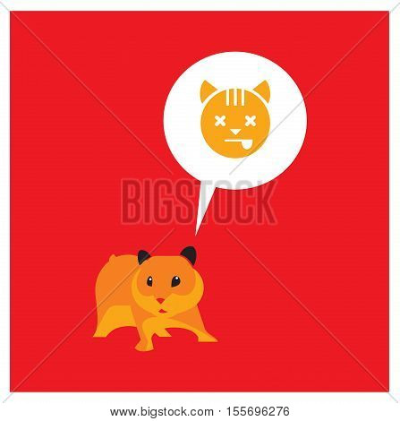 laconic illutsration of cute brown hamster. on red background