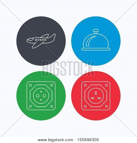 Air-plane, european socket and reception bell icons. UK socket linear sign. Linear icons on colored buttons. Flat web symbols. Vector