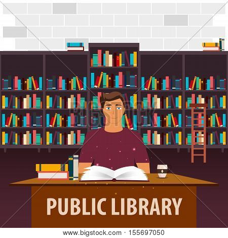 Public Library. Bookcase. Books And Knowledge. Vector Illustration.