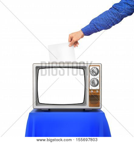 Elections concept. TV as an urn for the election ballots. Hand hold blank paper above election urn. 3d illustration