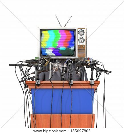 Mass media concept. Man in a suit and TV instead of head behind a tribune with microphones for conference. Concept of propaganda. 3d illustration