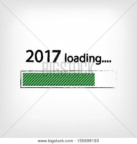 New year 2017 loading background, happy new year. Funny business concept: mail load. Green color. Space for your text