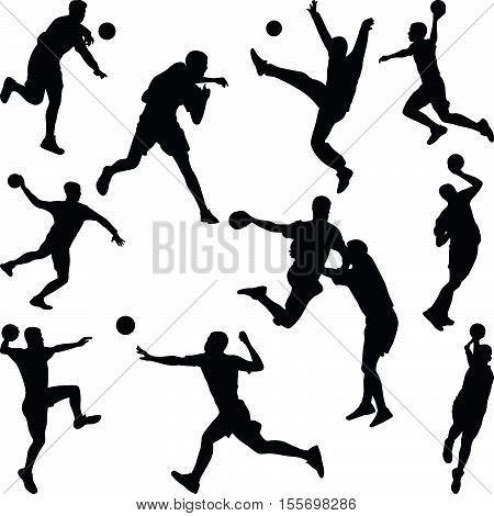 handball player in dirferent poses silhouette vector