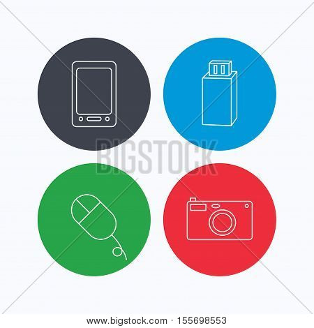 Tablet PC, USB flash and photo camera icons.PC mouse linear sign. Linear icons on colored buttons. Flat web symbols. Vector