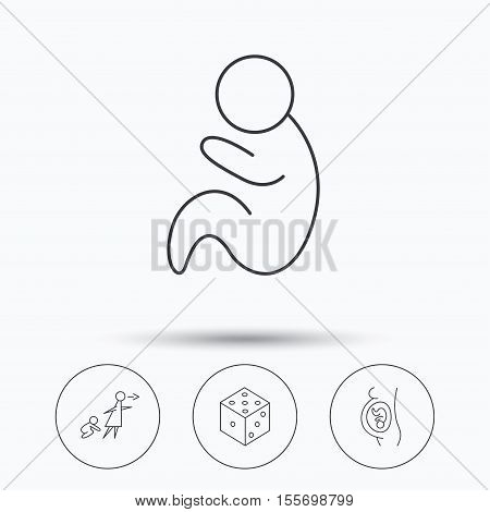 Pregnancy, paediatrics and dice icons. Unattended linear sign. Linear icons in circle buttons. Flat web symbols. Vector