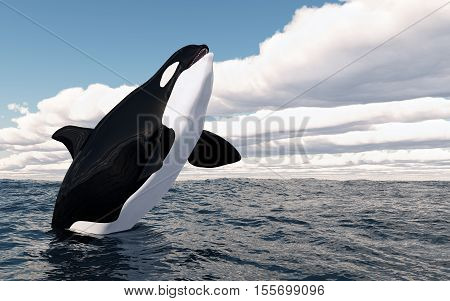 Computer generated 3D illustration with a jumping killer whale