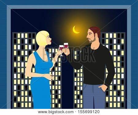 illustration of man and woman drinking wine on the background of the city at night