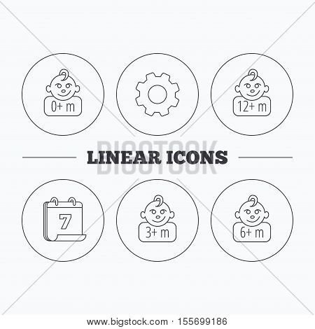 Infant child, 0 months child and toddler baby icons. 0-12 months child linear sign. Flat cogwheel and calendar symbols. Linear icons in circle buttons. Vector