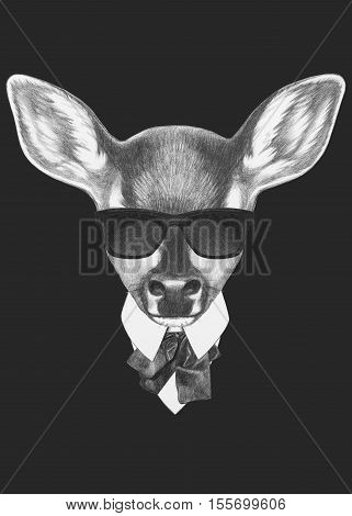 Portrait of Fawn in suit. Hand drawn illustration.