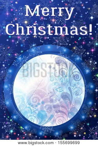 Christmas Holiday Background, Round Porthole Window on Blue Wall with Winter Abstract Floral Pattern, Magic Sparks, Light Snowflakes, Confetti and Place for Text. Eps10 Contains Transparencies. Vector