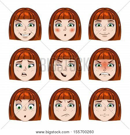 A set individuals cartoon girl. Different emotions girl.
