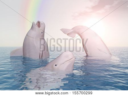 Computer generated 3D illustration with Beluga whales and rainbow