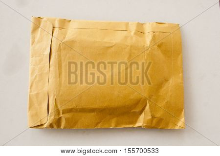 big envelope for send post parcel packet on background white