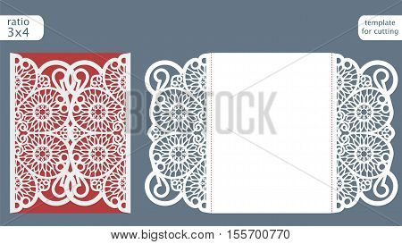Laser cut wedding invitation card template vector. Die cut paper card with abstract pattern. Cutout paper gate fold card for laser cutting or die cutting template.