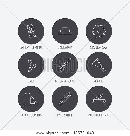 Paper knife, spatula and scissors icons. Circular saw, brickwork and drill tool linear signs. Multi-tool knife, rulers icons. Linear icons in circle buttons. Flat web symbols. Vector