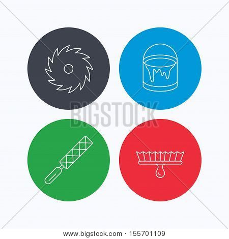 File tool, circular saw and brush tool icons. Bucket of paint linear sign. Linear icons on colored buttons. Flat web symbols. Vector