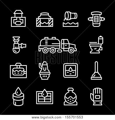 Set line icons of sewerage isolated on black. Vector illustration