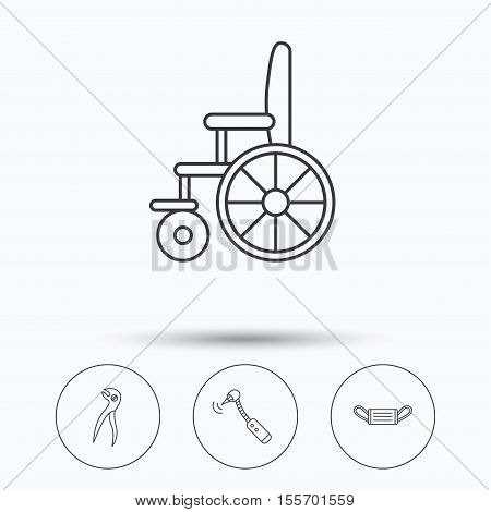 Medical mask, wheelchair and dental pliers icons. Drilling tool linear sign. Linear icons in circle buttons. Flat web symbols. Vector