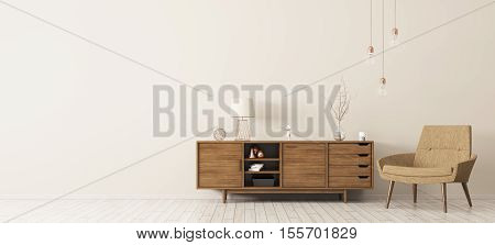 Interior With Wooden Cabinet And Armchair 3D Rendering