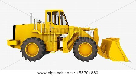 Computer generated 3D illustration with the side view of a loader