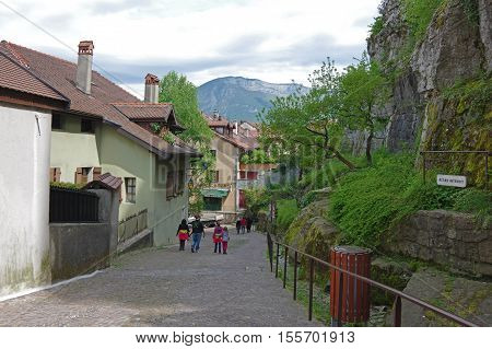 ANNECY FRANCE - 29 APRIL 2015: View of the street in city centre of Annecy capital of Haute Savoie province in France. Annecy is known to be called the French Venice
