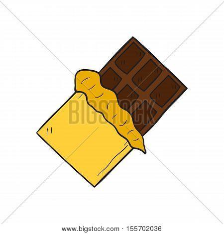 Vector Cartoon Hand Drawn Isolated Chocolate Bar