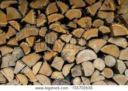 Firewood. Split and stacked firewood for the winter.