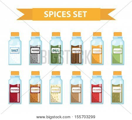 Set spices in jars flat style. Set of different spices herbs in a glass jar isolated icons on a white background. Spices seasonings in a glass jar a design element. Vector illustration