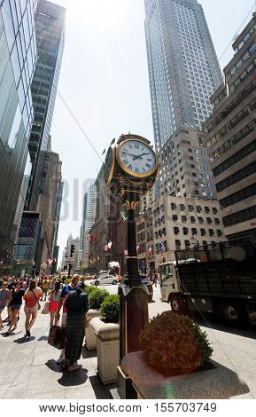 The Clock On Fifth Avenue At The Trump Tower