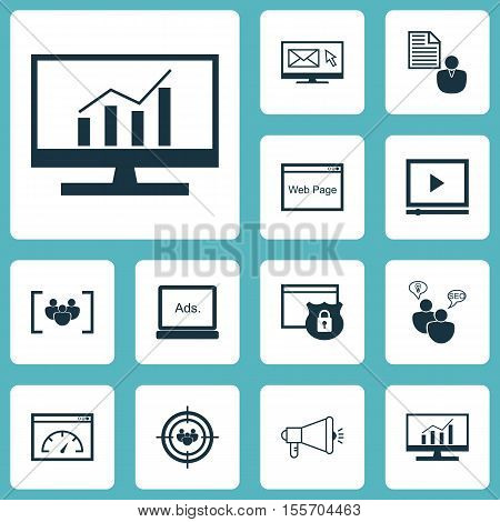 Set Of Seo Icons On Media Campaign, Newsletter And Digital Media Topics. Editable Vector Illustratio