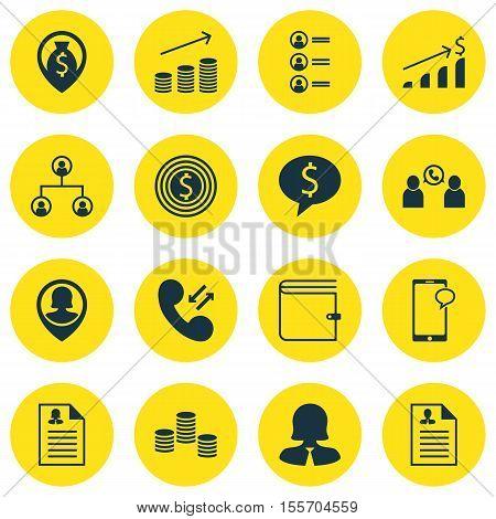 Set Of Management Icons On Pin Employee, Job Applicants And Money Topics. Editable Vector Illustrati