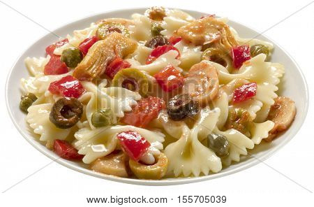 plate of pasta with olives, pepper, mushroom and artichokes